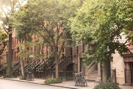 Summer Street scene from New York City with brownstones apartments homes and trees.
