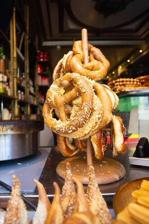 Traditional Bavarian style pretzels in window display