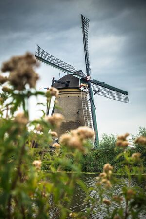 View of traditional Dutch Windmill and landscape seen from Kinderdijk Netherlands Stockfoto - 131903886