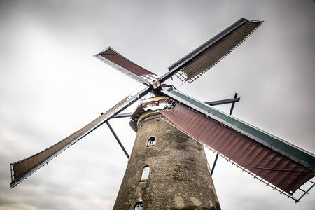 View of traditional Dutch Windmill   seen from Kinderdijk Netherlands