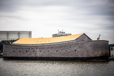KRIMPEN AAN DE IJSSEL, NETHERLANDS - SEPTEMBER 3, 2018: View of Noahs Ark replica seen along the river in Netherlands. Sajtókép