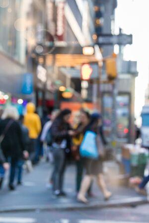Defocused New York City blur of street scene with people