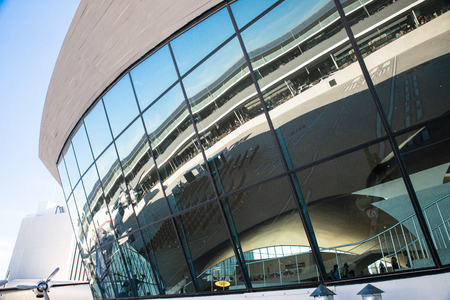 NEW YORK CITY, NEW YORK - SEPTEMBER 20, 2019: Exterior view of the historic TWA Hotel, formerly the TWA Flight Center at Kennedy Airport in Queens NY. Sajtókép