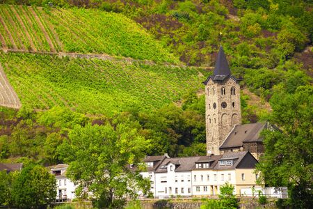 Scenic view of village architecture of Sankt Goar, Germany as seen from Rhine River