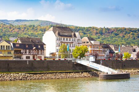 View of Scenic Village of Bad Salzig, Germany seen from along the Rhine River Stock fotó - 137377334