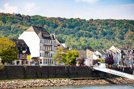 View of Scenic Village of Bad Salzig, Germany seen from along the Rhine River