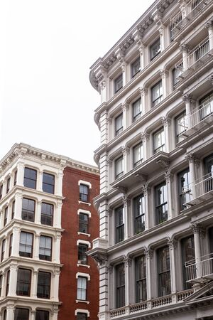 View of row of classic New York City apartment buildings in SoHo Manhattan