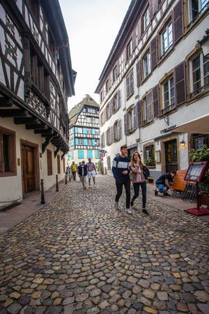 Strasbourg, France - September 7, 2018:  Scene from the historic old city of Strasbourg France Redactioneel