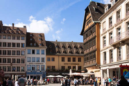 Strasbourg, France - September 7, 2018:  Town Square with people visible from Strasbourg France Redactioneel