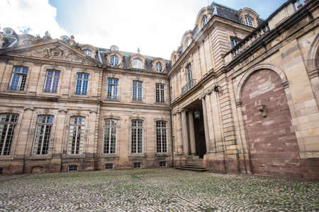 Strasbourg, France - September 7, 2018:  Palace Palais Rohan seen from courtyard in Strasbourg France