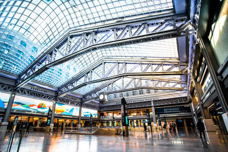 New York City, New York - January 23, 2021: Interior view of the new Moyinhan Train Hall at Penn Station in Manhattan.