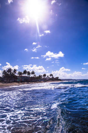Beautiful seascape with ocean on a sunny day along northern coast of Puerto Rico