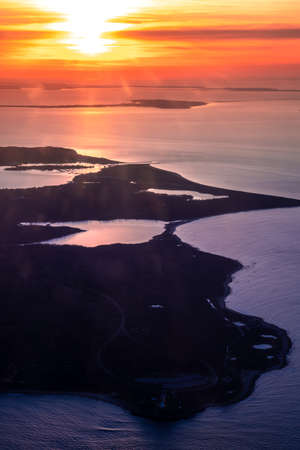 Aerial view over Long Island New York with colorful sunset over the Great South Bay