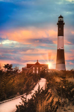 Beautiful Fire Island Lighthouse at sunset, Long Island, New York