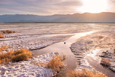 Beautiful Death Valley California landscape at sunset with salt creek in view