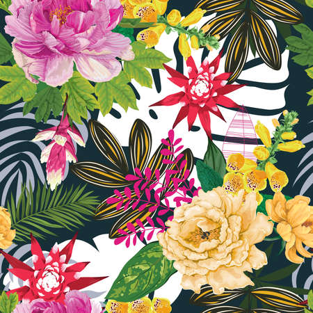 Tropical Flowers and Leaves Print Pattern