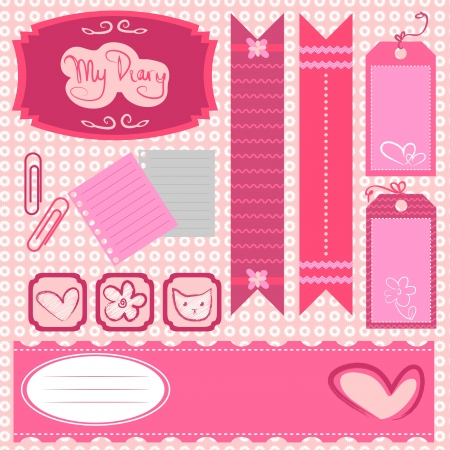 Girl scrapbook set Vector