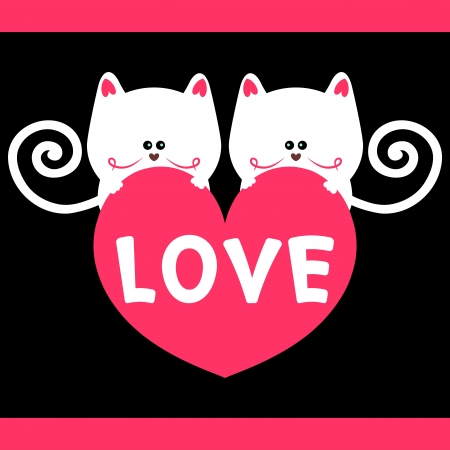 Kitty love romantic card Vector