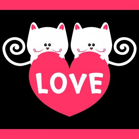 Kitty love romantic card Stock Vector - 15638001
