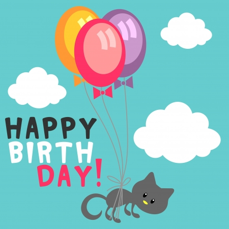 Birthday card cute kitty with balloons in the sky Vector