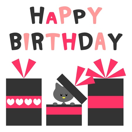 Birthday card with pretty kitty Vector