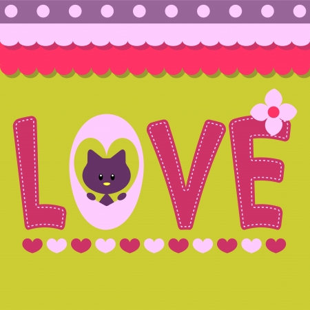 Love card with text and cute kitty Ilustração