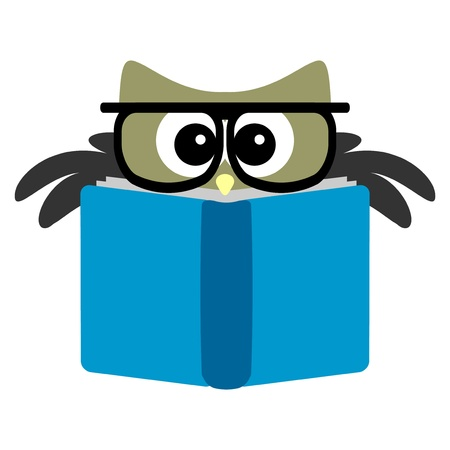 buhos y lechuzas: B�ho divertido leyendo un libro Vectores