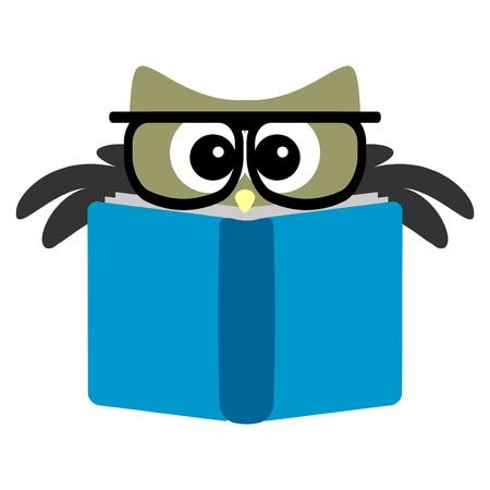 Grappig uil het lezen van een boek Vector Illustratie