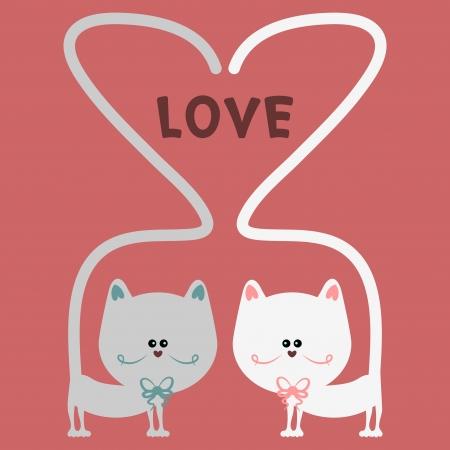 Cat love romantic card Vector