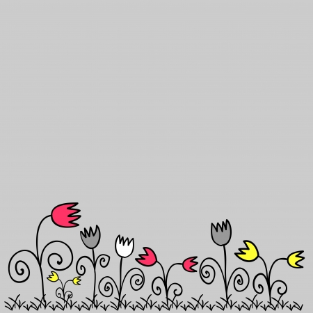 Cute background doodle flowers Vector