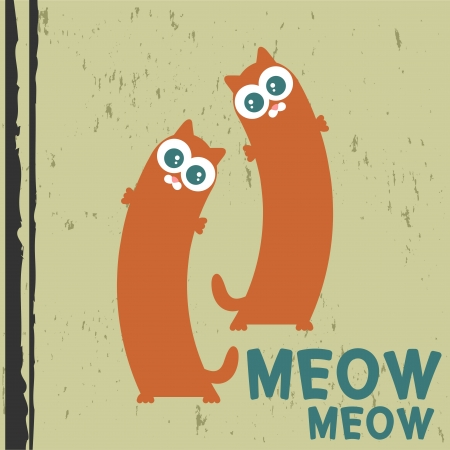 Two cute cats vector illustration Vector