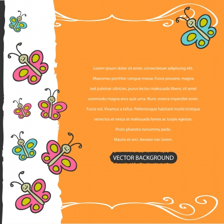 babyish: Cute childish background with colorful butterflies