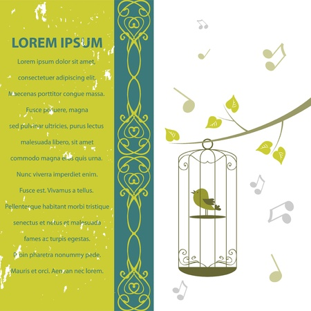 Beautiful vintage  card with bird in a cage Vector