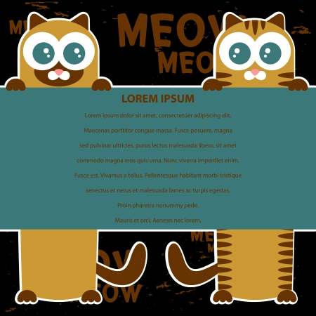 babyish animal: Vector card design with two cats and place for your text Illustration