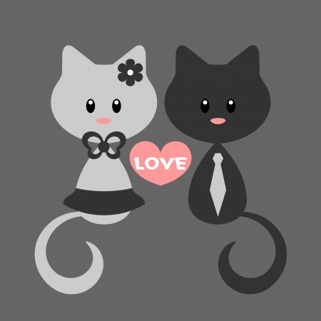 flowers cat: Romantic card with kitty girl and kitty boy