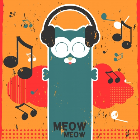 Retro vector card with kitty listening to music in headphones Illustration