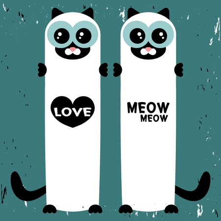 Vector love card with two cute siamese cats Vector