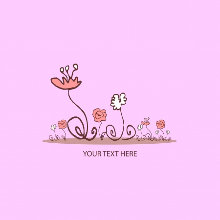 Beautiful pink vector card with flowers Illustration