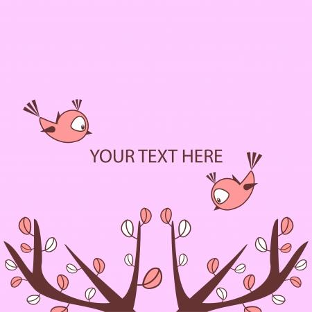 babyish animal: Cute vector card with little birds above trees