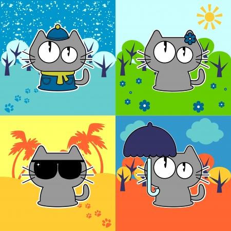 Cute funny cat in four seasons set Illustration