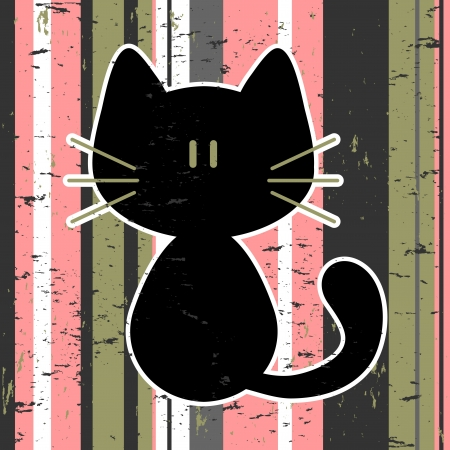 Vector card with cute kitty Illustration