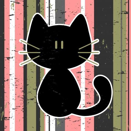 Vector card with cute kitty Иллюстрация