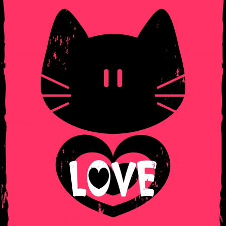 love card with kitty face and heart