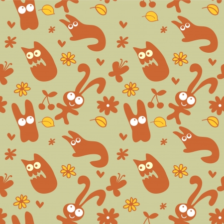 Cute childish seamless pattern with funny creatures Vector