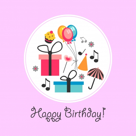 Cute birthday card with various objects Vector