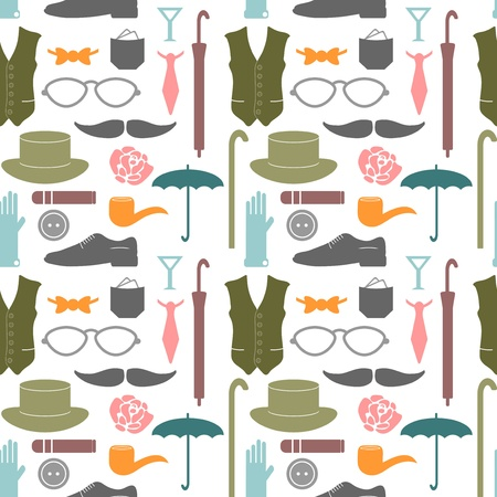 Seamless pattern with various elements for gentlemen Ilustração