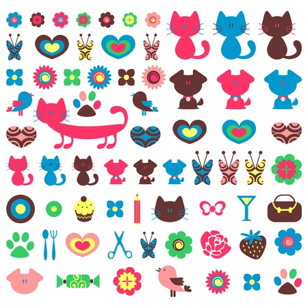 kitties: Cute colorful various childish elements for design set