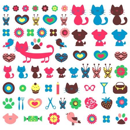 dog rose: Cute colorful various childish elements for design set