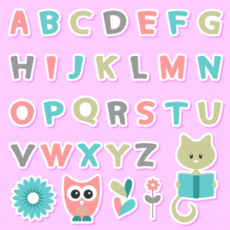 Cute childish stickers set with alphabet Vector