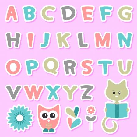 cat alphabet: Cute childish stickers set with alphabet